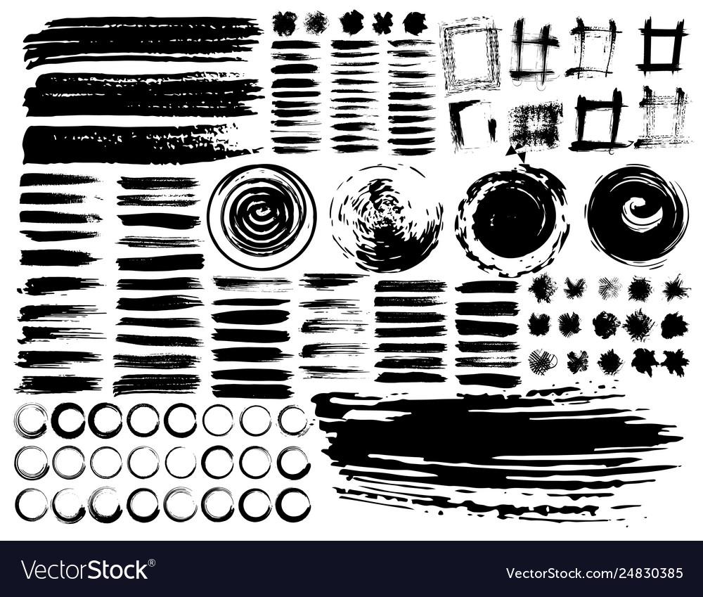 Set brush strokes black ink grunge brush