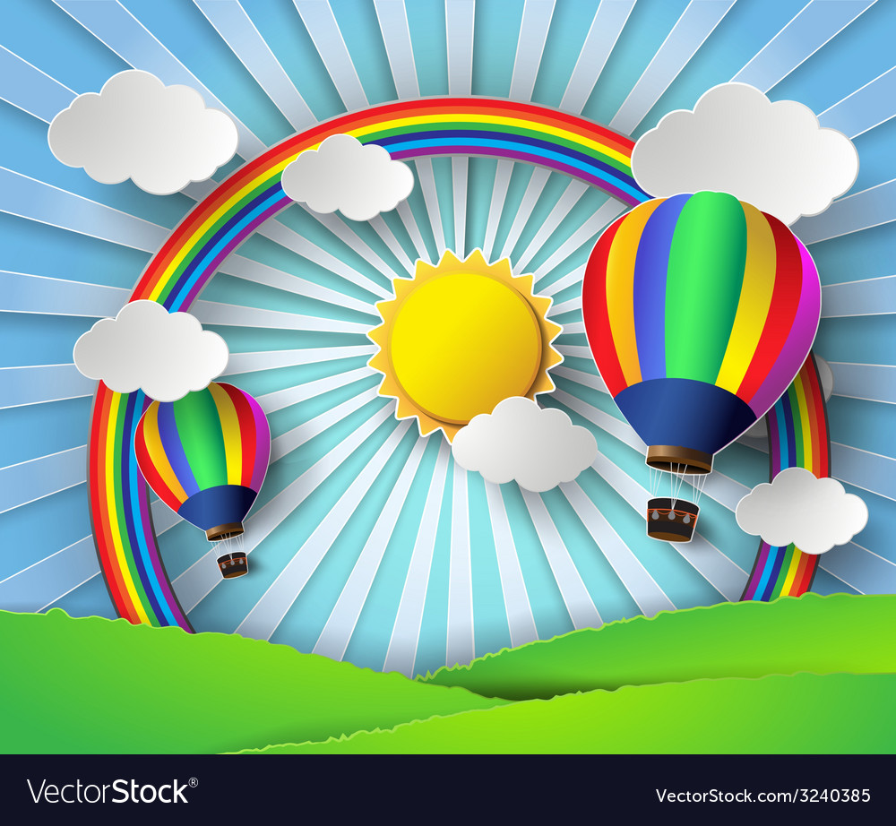Sunlight on cloud with hot air balloon vector image