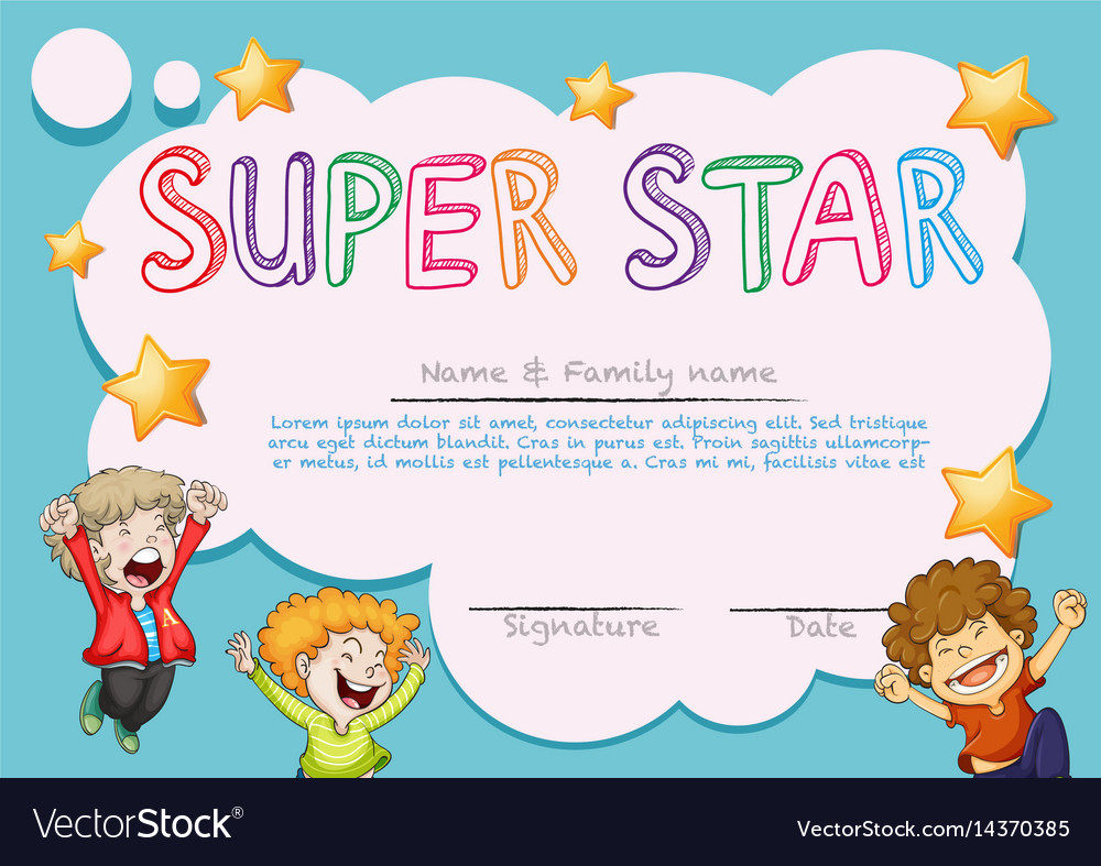 Super Star Award Template With Kids In Background Vector Image