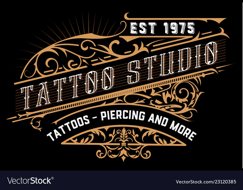 Tattoo logo old lettering on dark background with