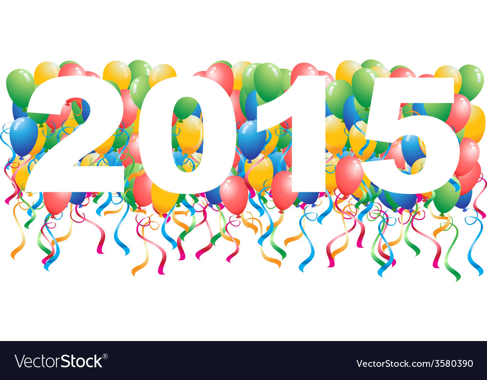 2015 balloons new year background vector image
