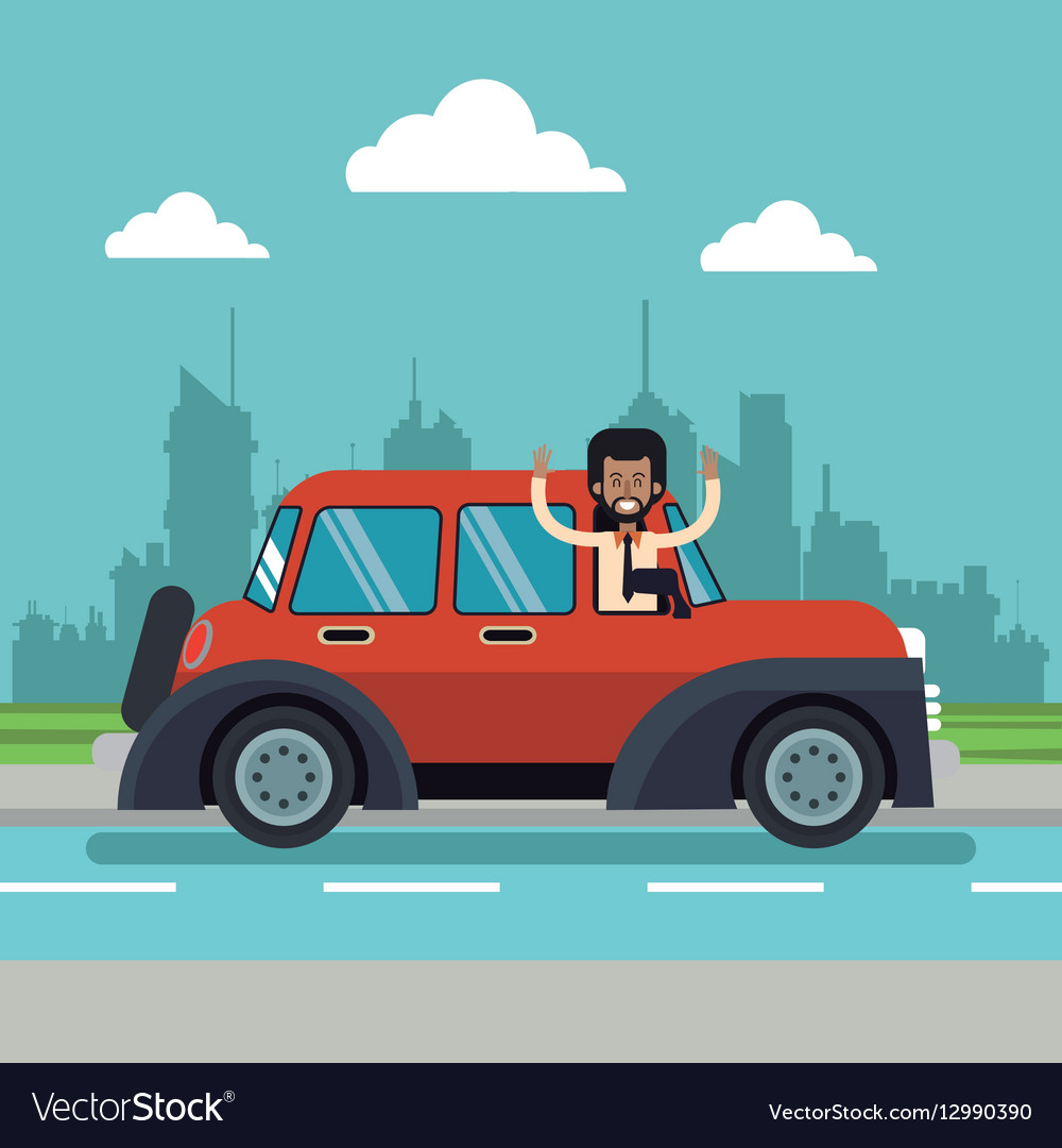 Afro american man beard classic car urban vector image