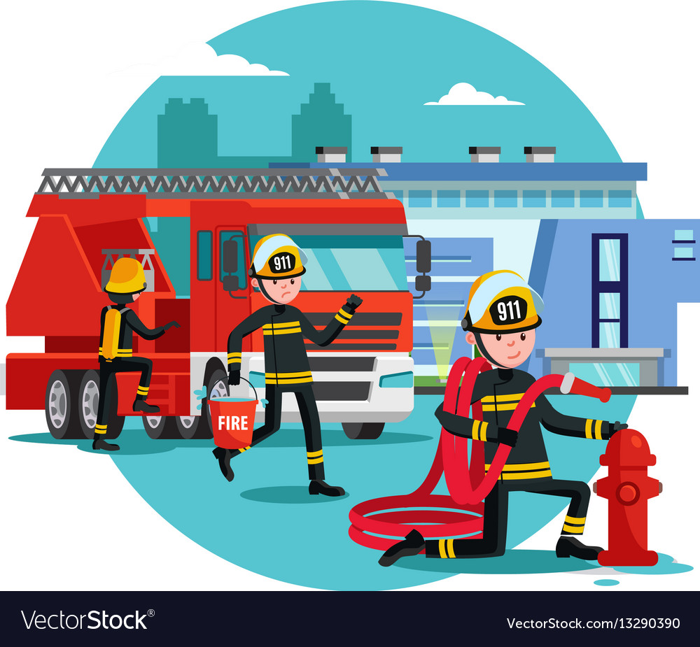 colorful firefighting template royalty free vector image