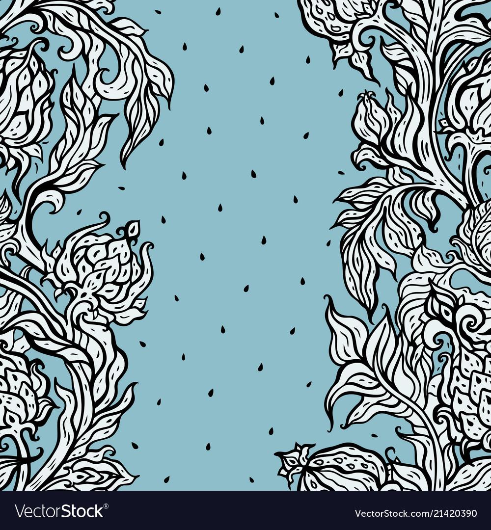 Exotic garden hand drawn floral pattern vintage