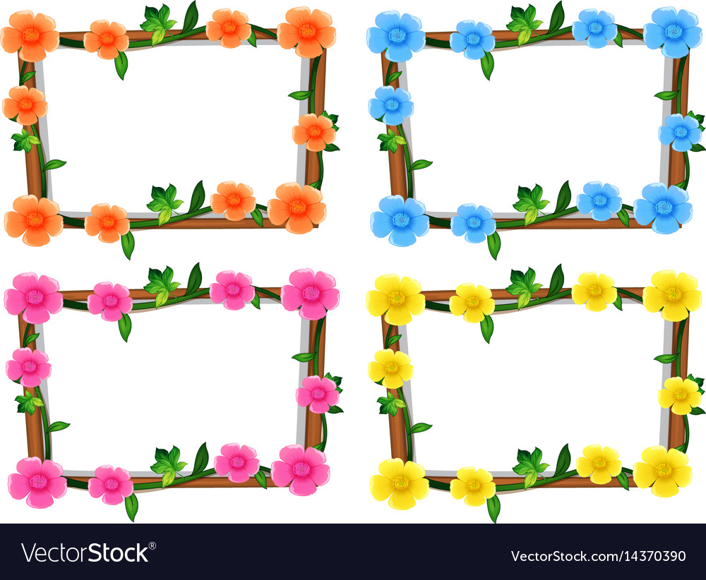Four design of frames with flowers Royalty Free Vector Image