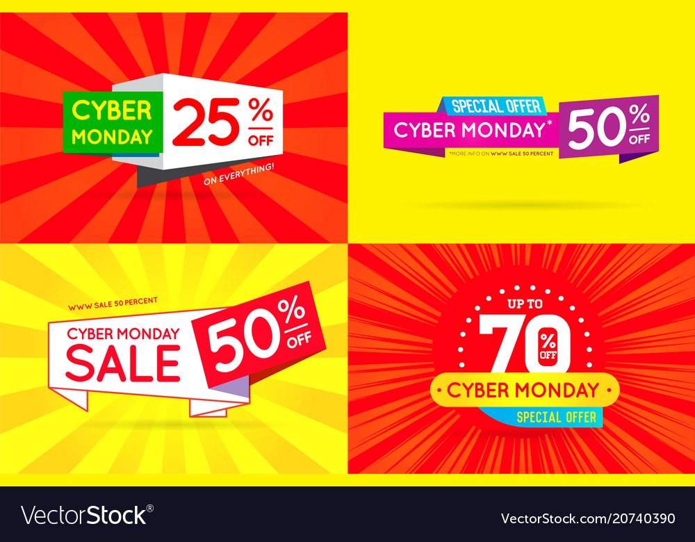 Set of cyber monday sale signs banners posters
