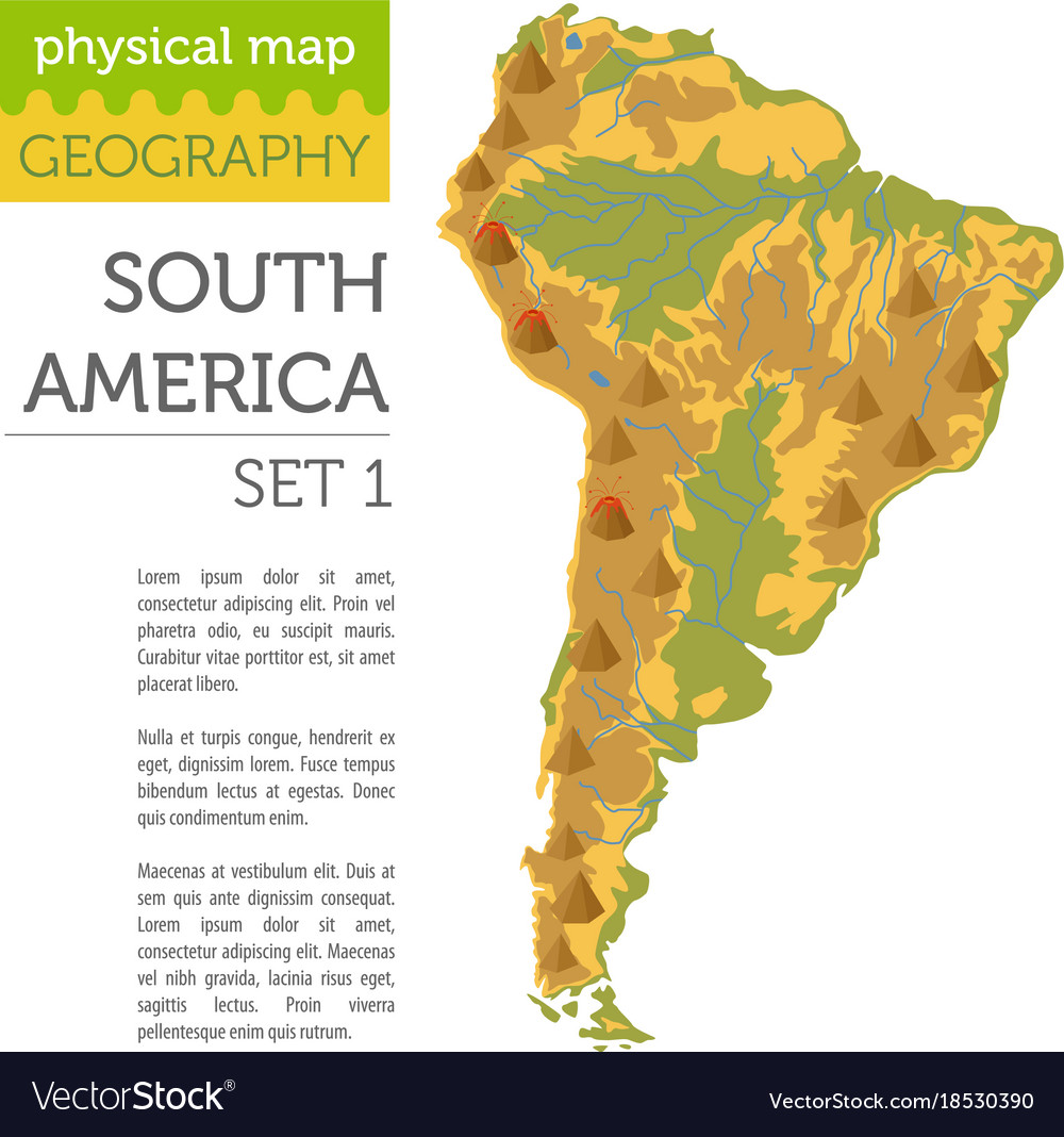South america physical map elements build your Vector Image