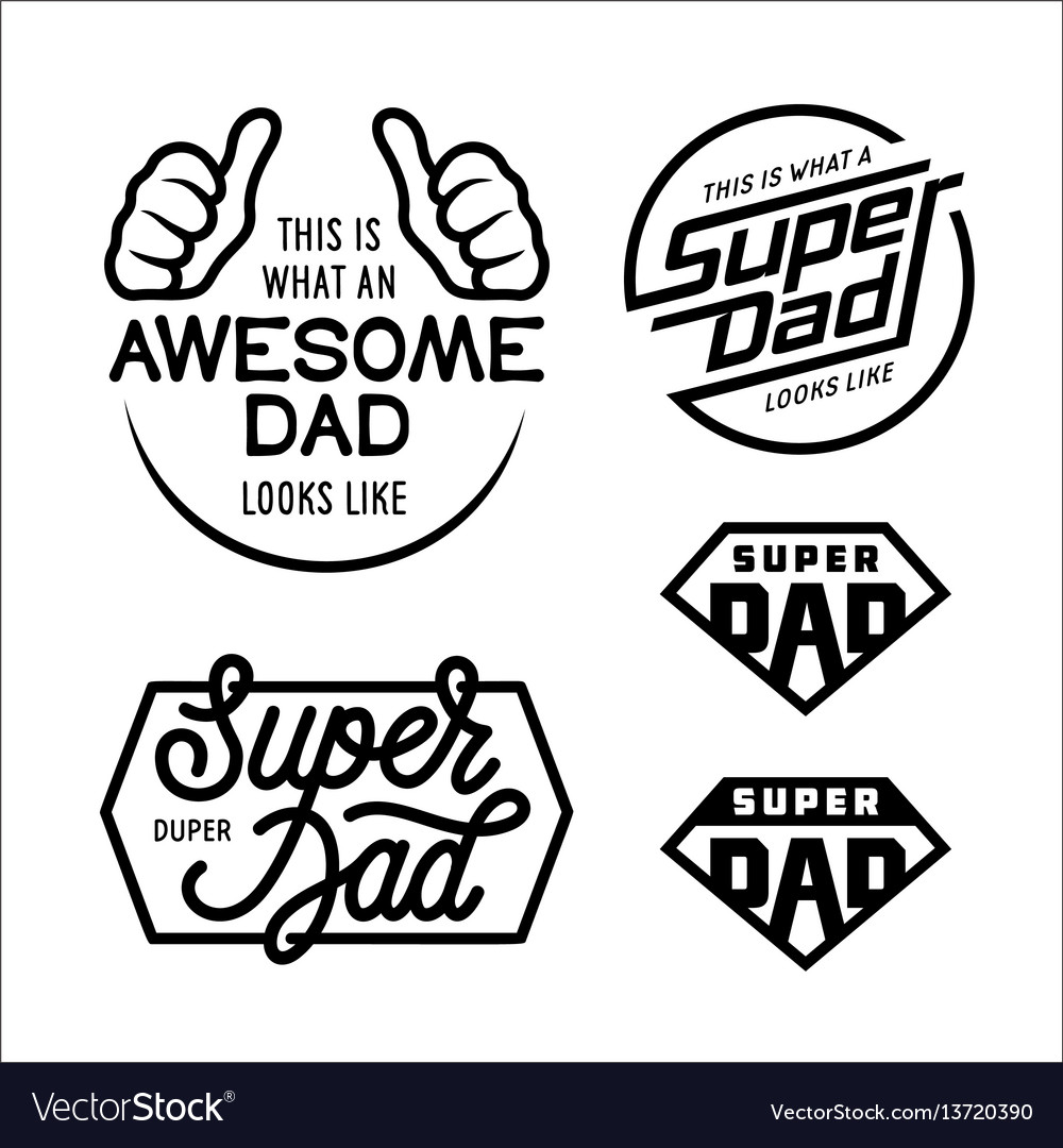 Super dad emblems labels prints set