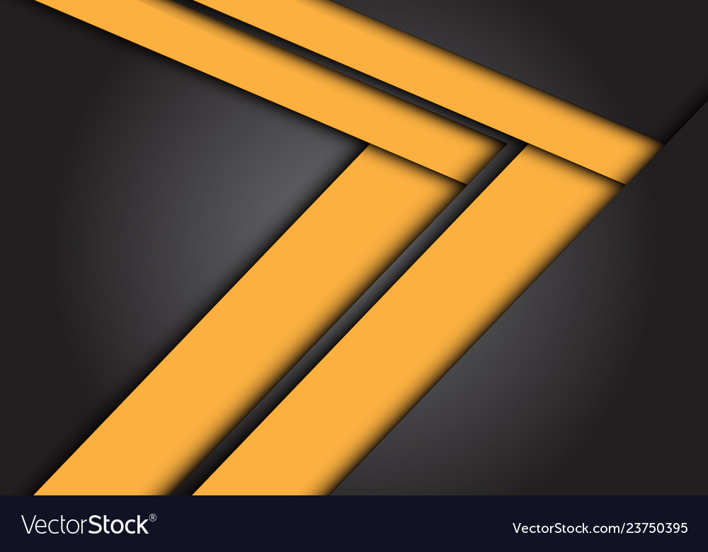 Abstract yellow arrow speed direction on dark grey