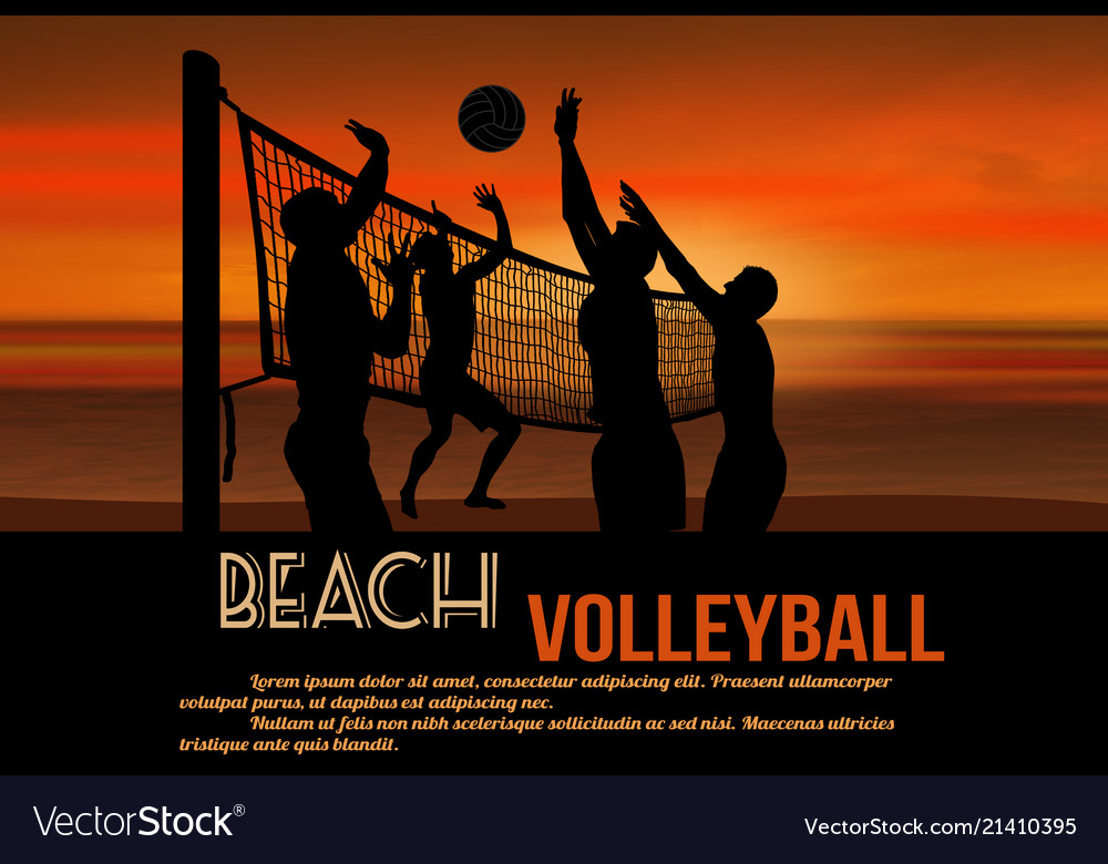 Beach volleyball at beautiful sunset poster