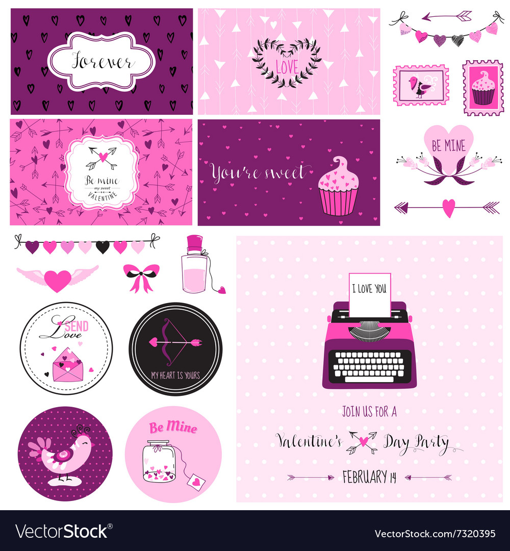 Cute Valentines Day and Love Scrapbook Set