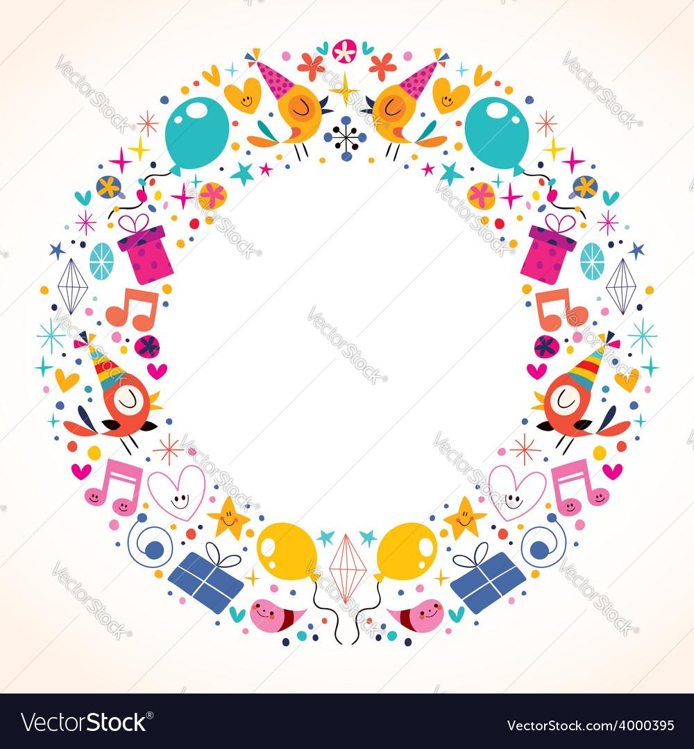Happy Birthday circle frame border design Vector Image