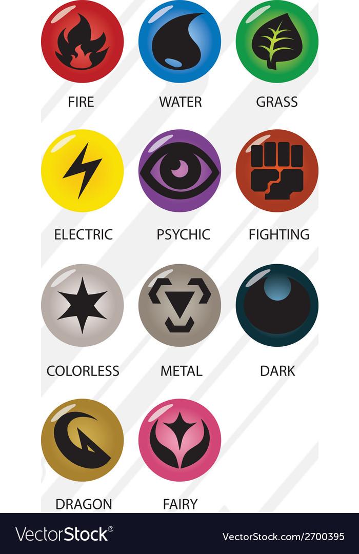 Pokemon Type Symbols vector image