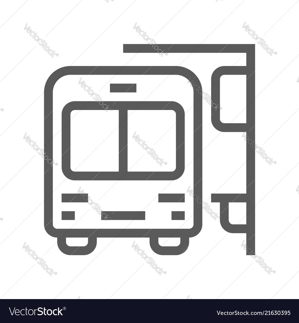 Public navigation line icon bus stop
