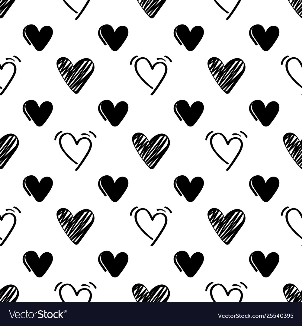 Seamless pattern with black hand drawn hearts on