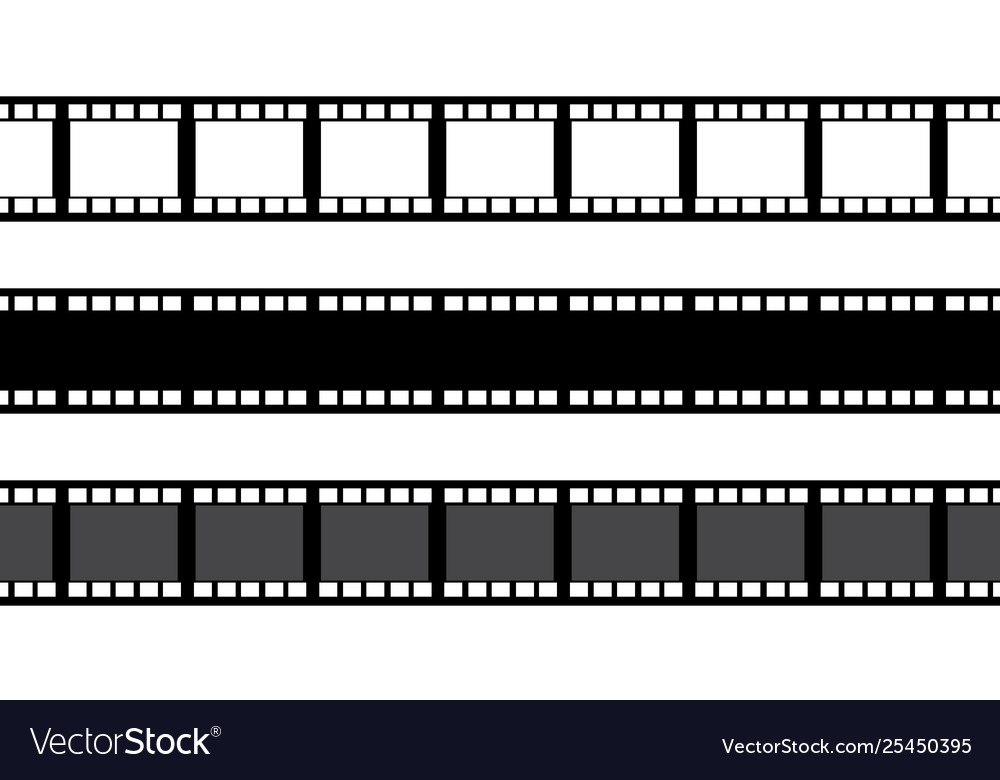 set film strip isolated on white background vector image vectorstock