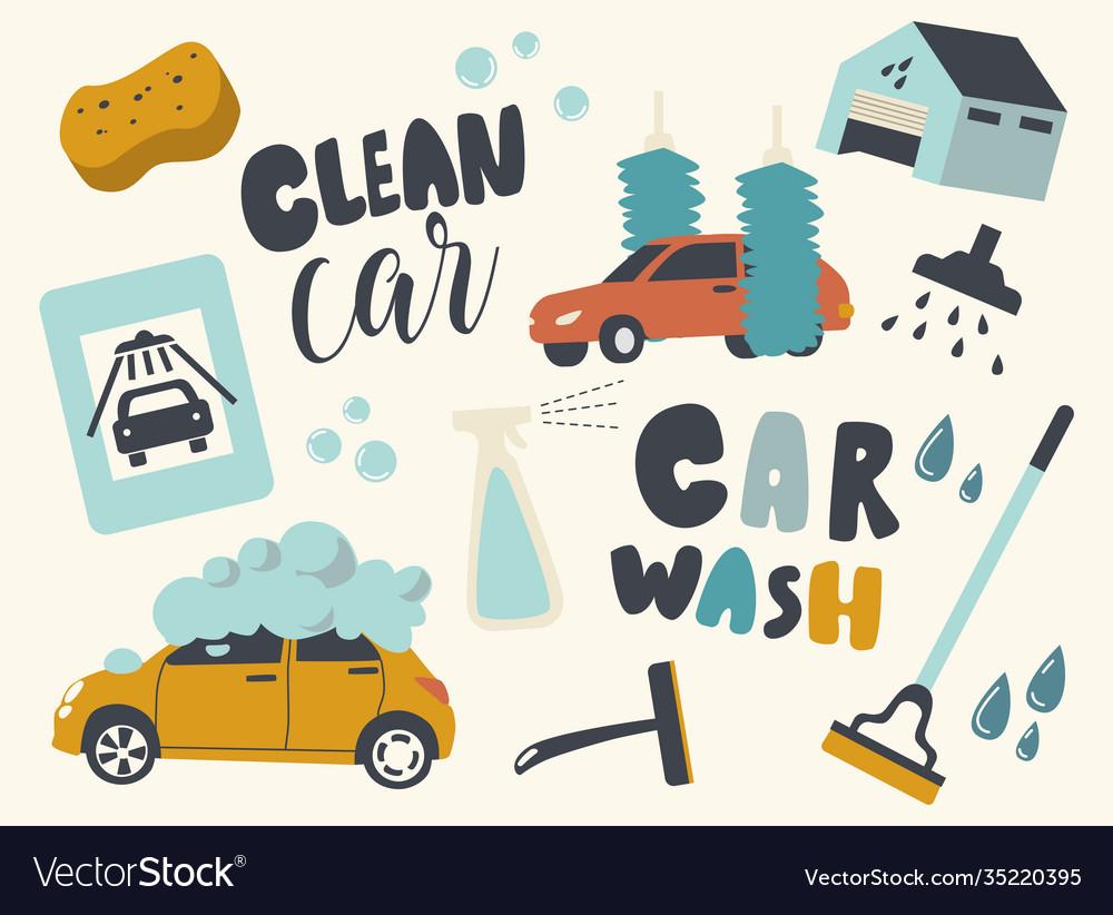 Set icons car wash service automobile on foam