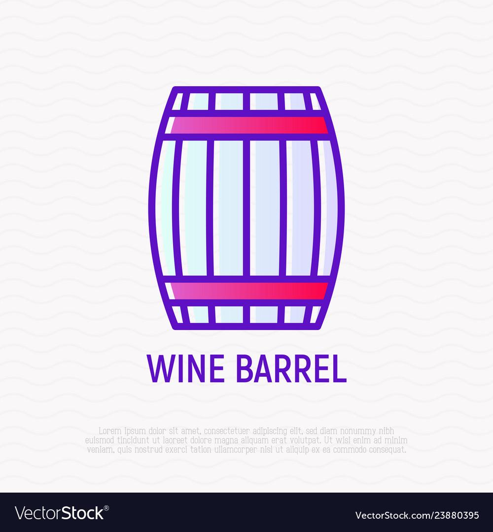 Wine barrel thin line icon