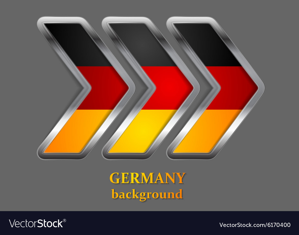 Abstract metallic arrow German colors