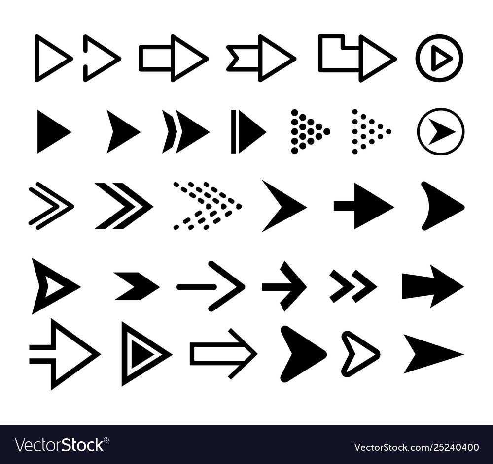 Arrow icon set black arrows