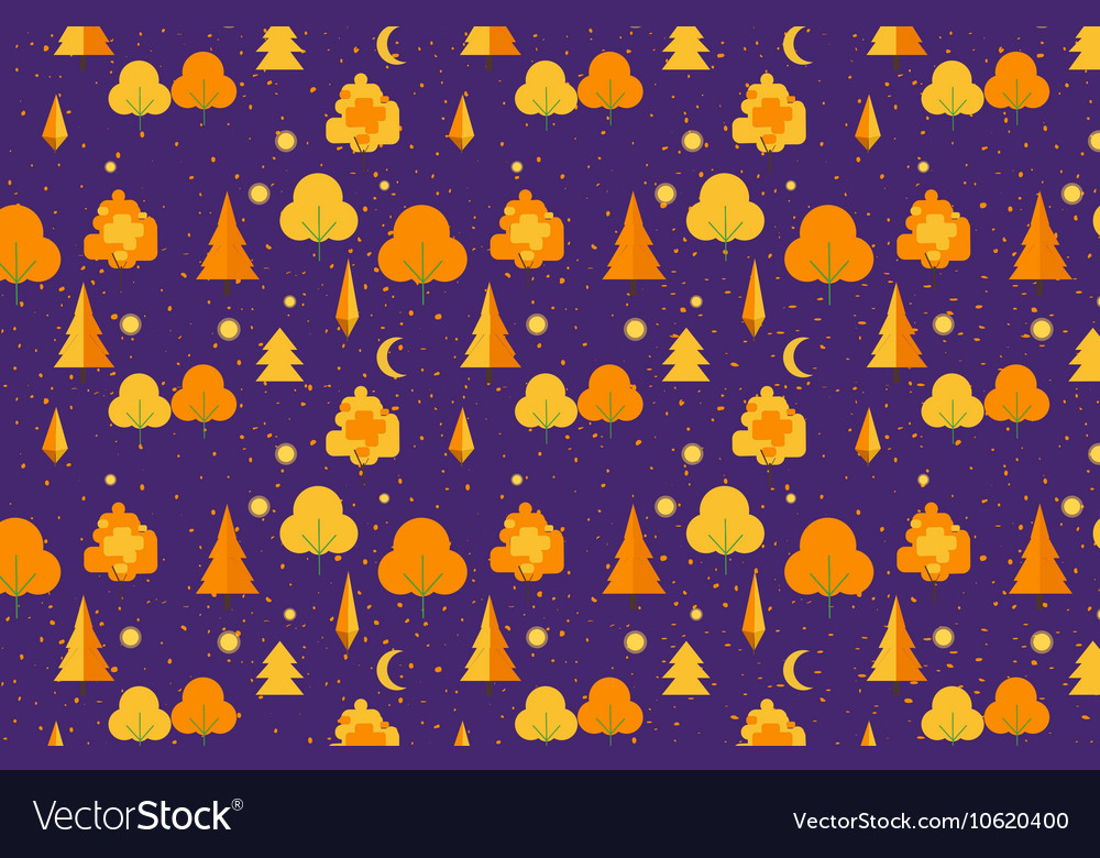 Autumn Tree seamless pattern Fall theme vector image