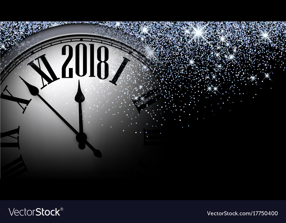 black 2018 new year clock background vector image