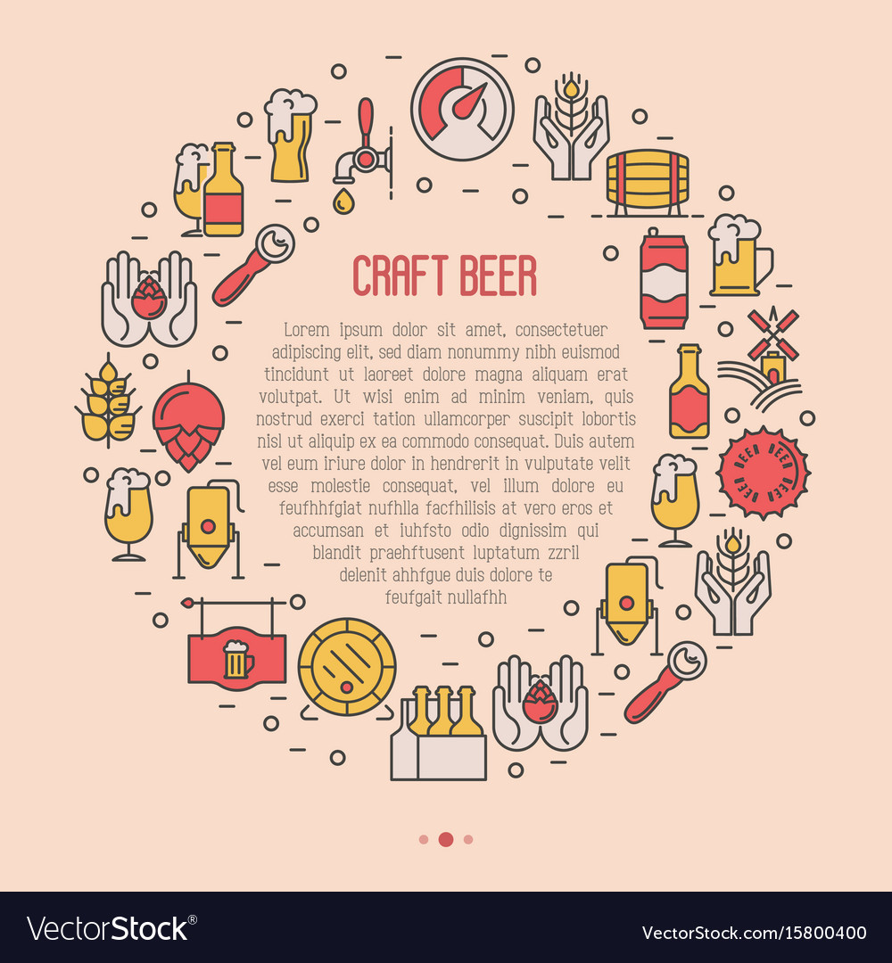 Craft beer concept in circle with thin line icons