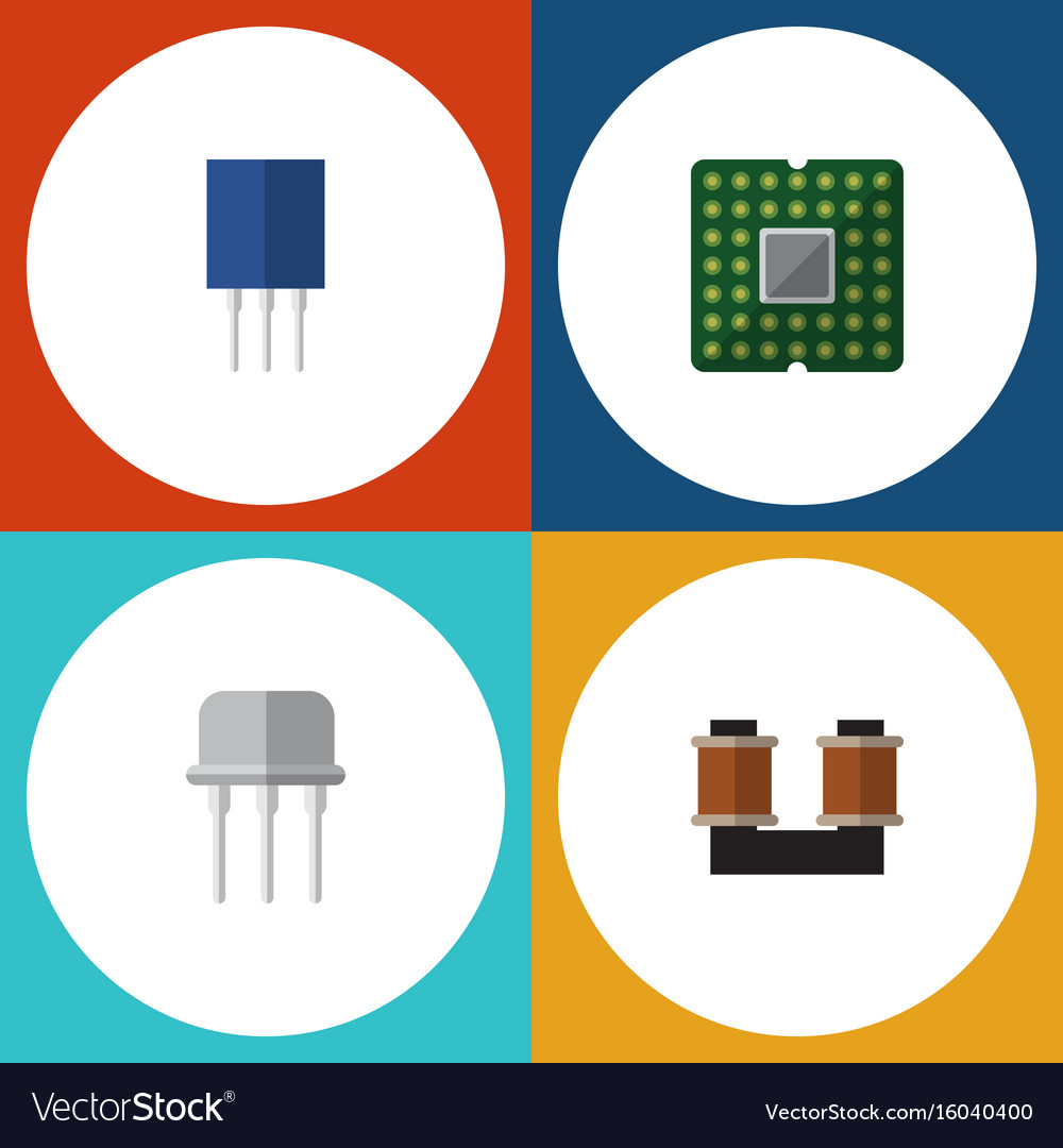 Flat icon technology set of coil copper resist vector image