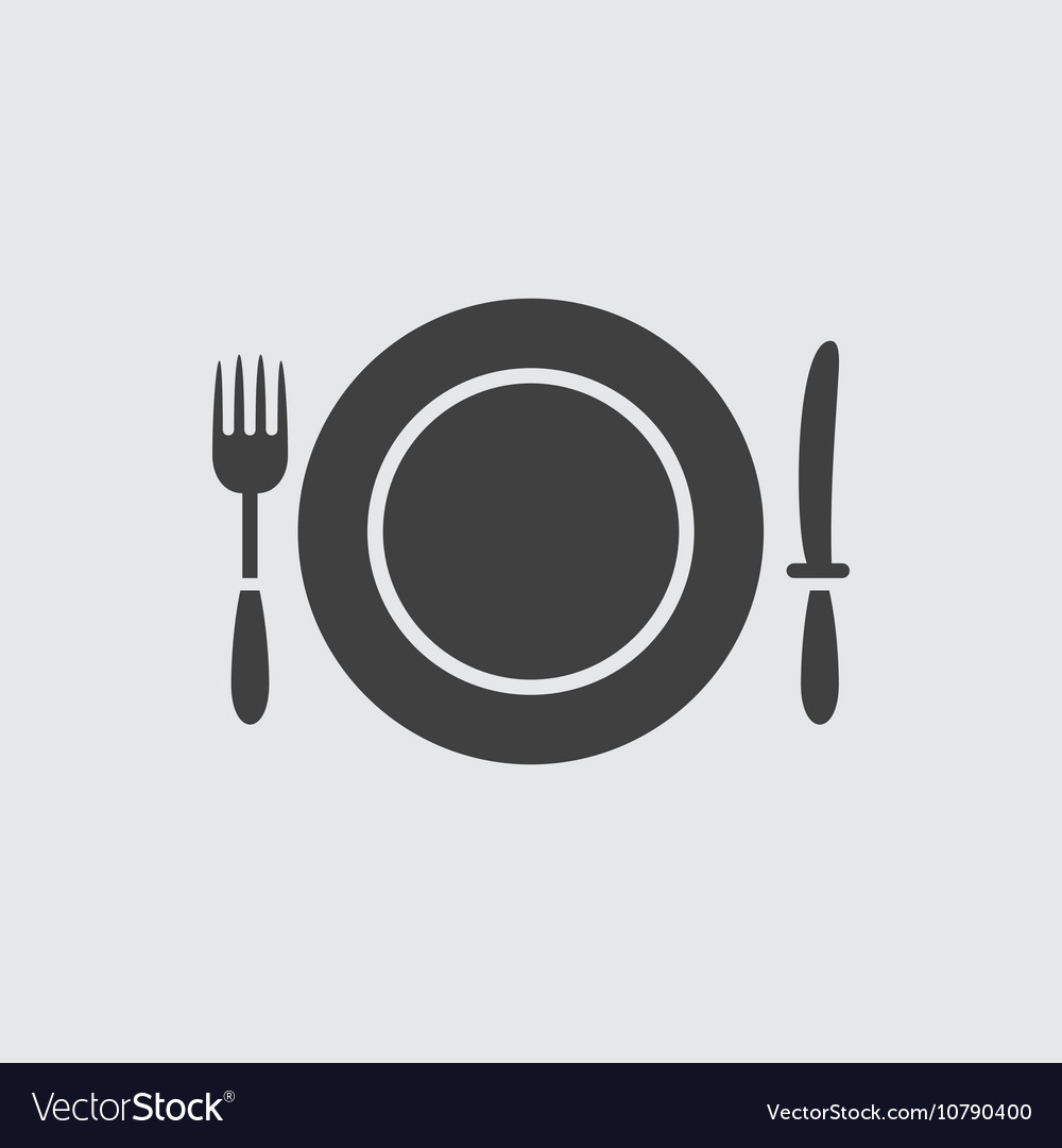 Fork knife and plate icon