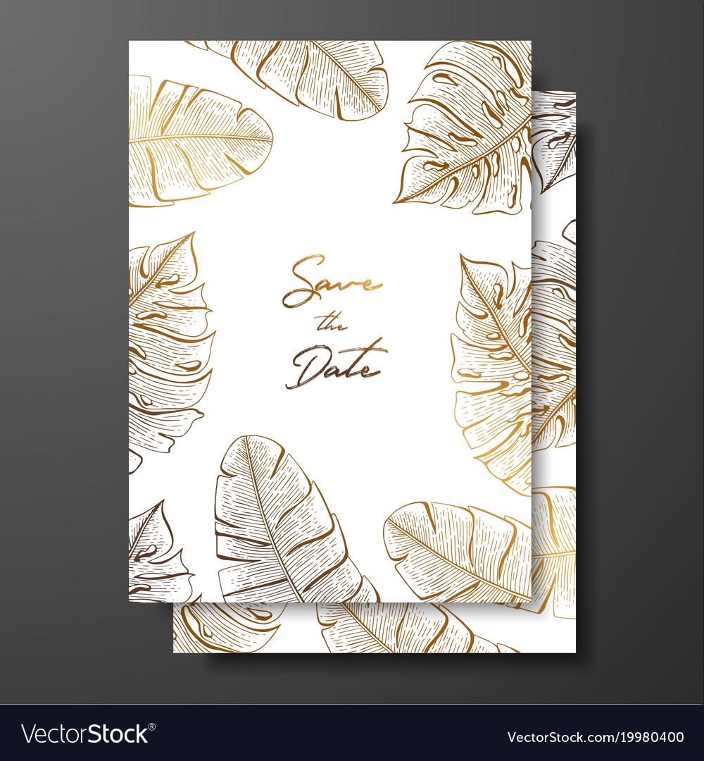 Gold wedding invitation with tropical leaves