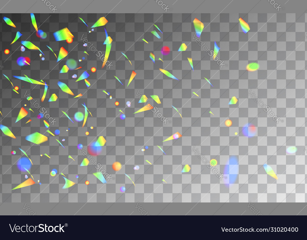 Holographic rainbow confetti isolated on