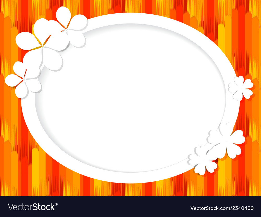 Oval frame for text with white flowers Royalty Free Vector