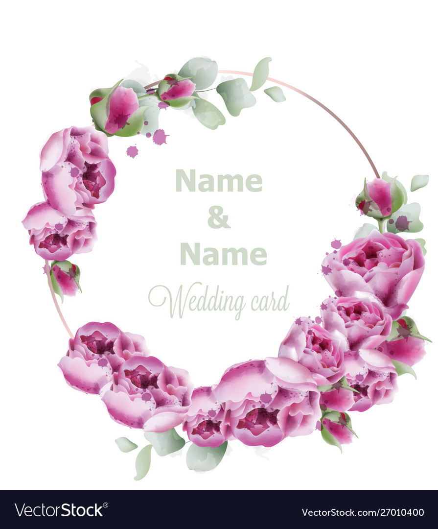 Peony wedding wreath watercolor birthday women