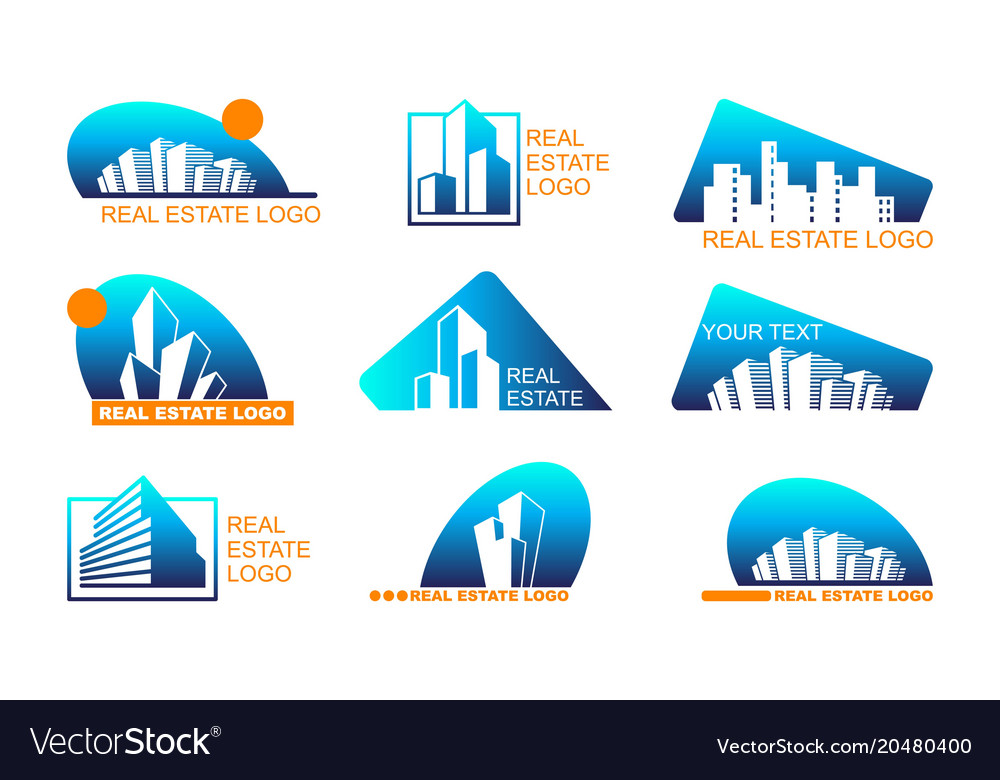 Real estate logo set abstract creative building