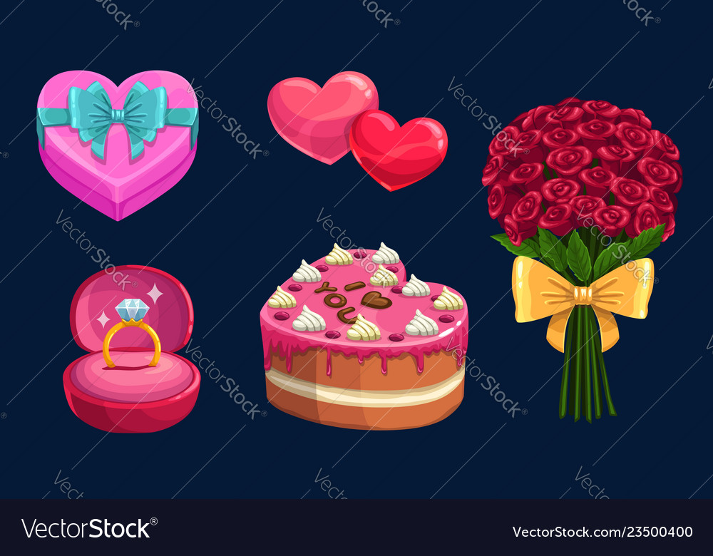 Valentines day love holiday gifts hearts cake