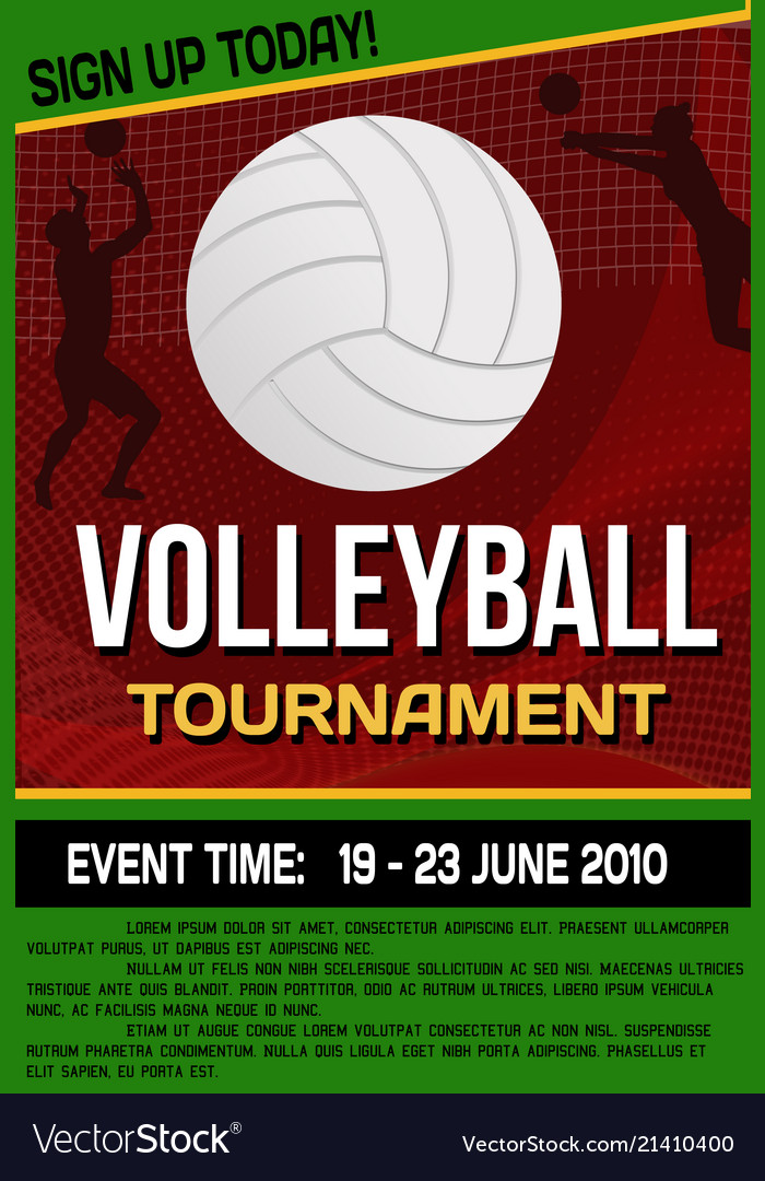 Volleyball Tournament Flyer Or Poster Royalty Free Vector
