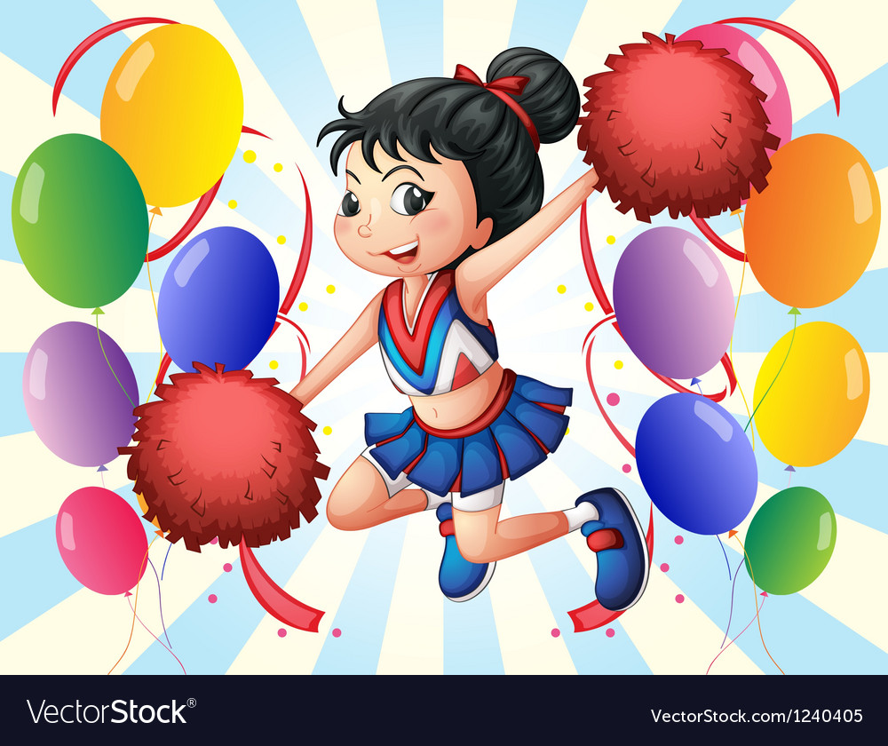 A cheerleader holding red pompoms with balloons vector image