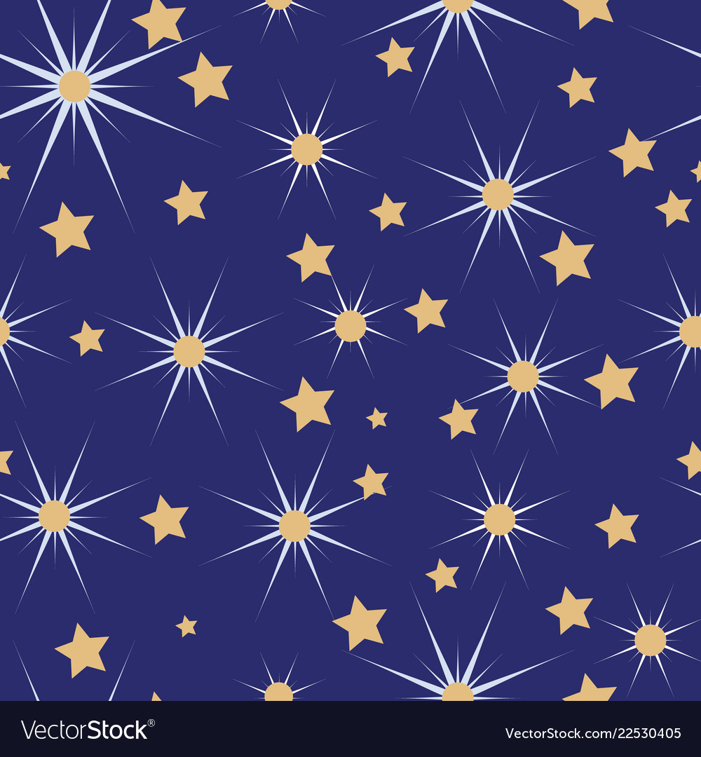 Blue white and gold christmas stars seamless
