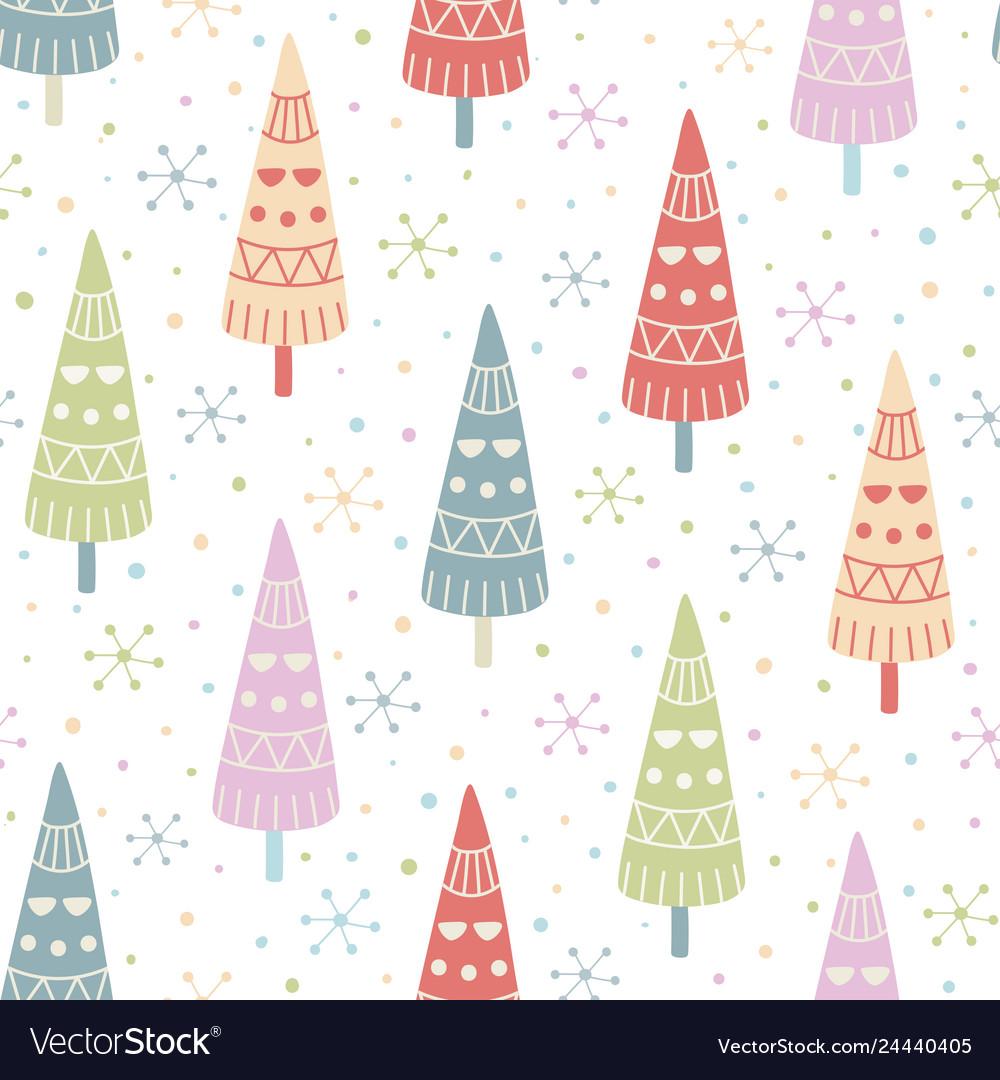 Decorative christmas trees seamless pattern