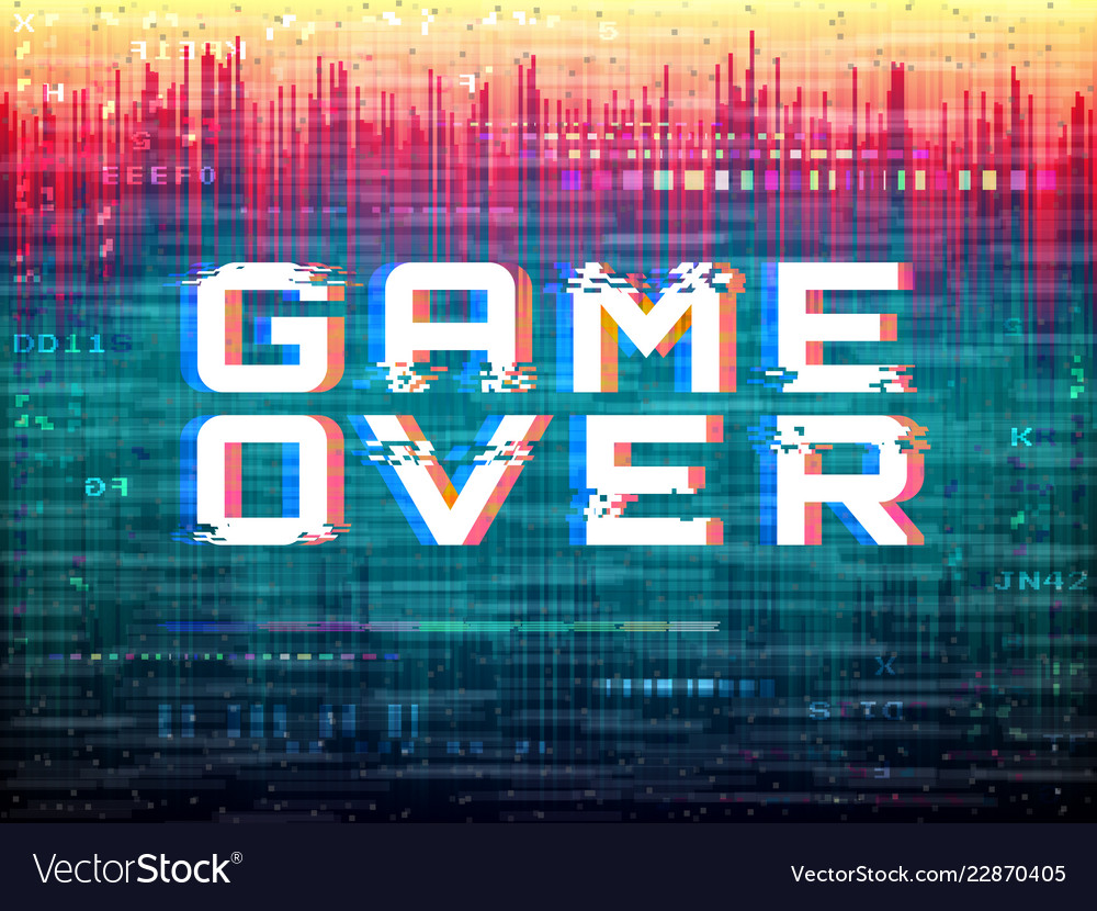 Game over text video game glitch color