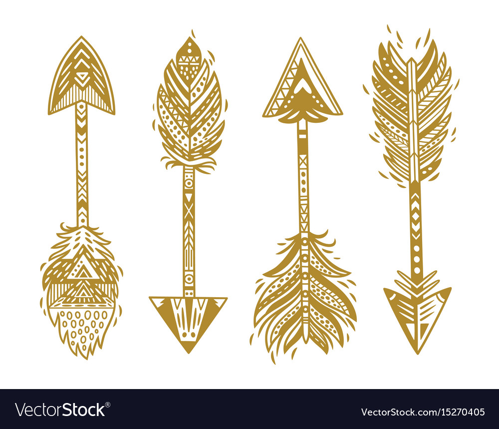Indian ethnic arrows in gold vector image