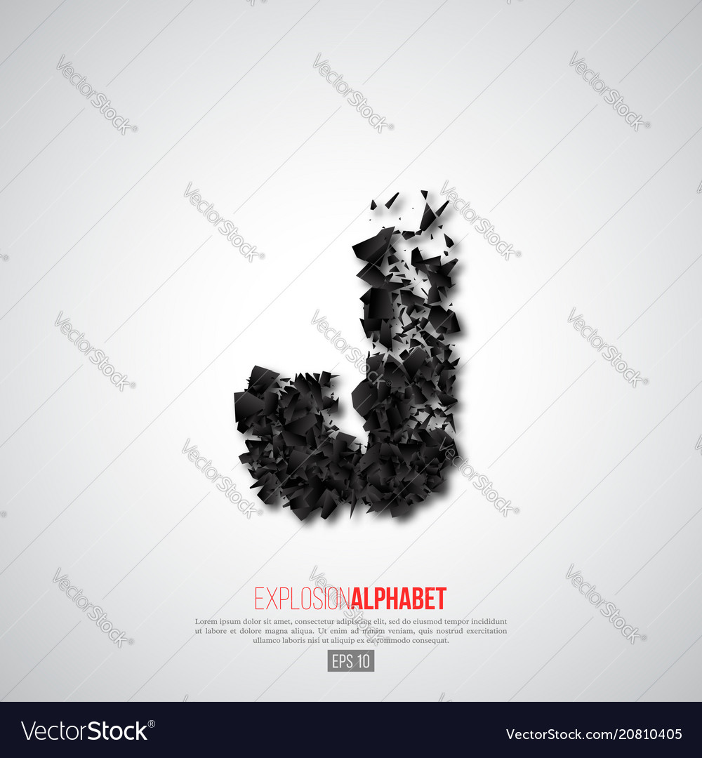 Letter j of explosion particles effect vector image