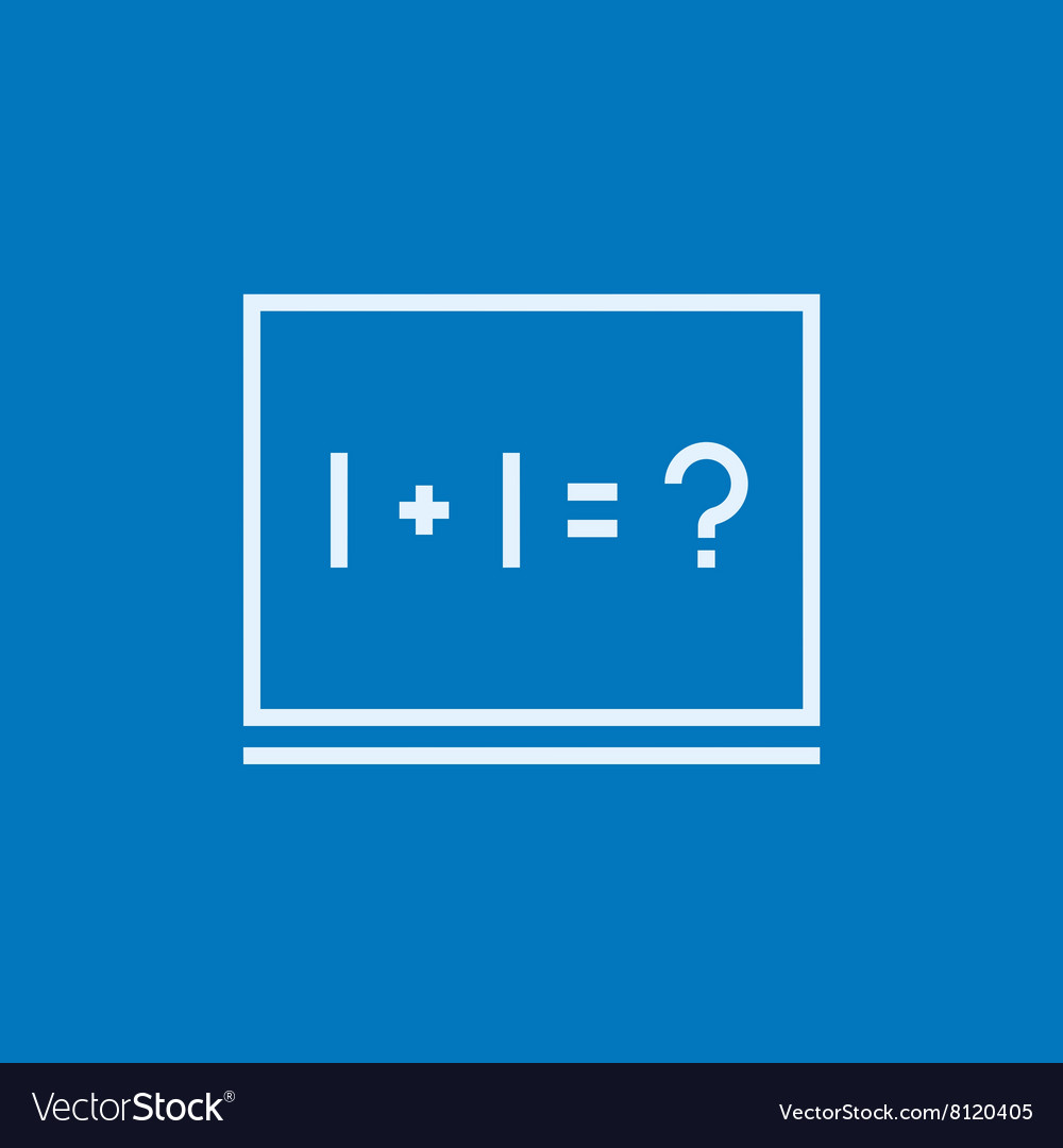 Maths example written on blackboard line icon Vector Image