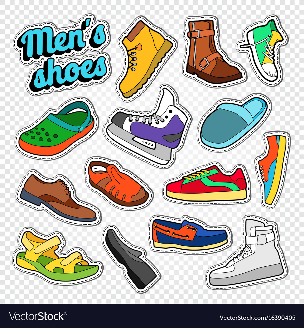 Mens fashion doodle male footwear stickers