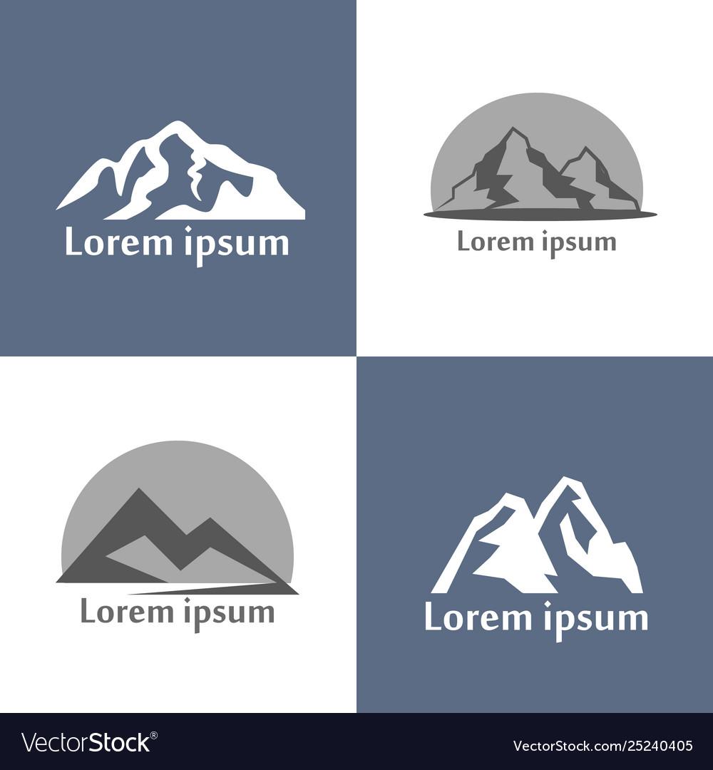 Mountains logo set mountain relief view of