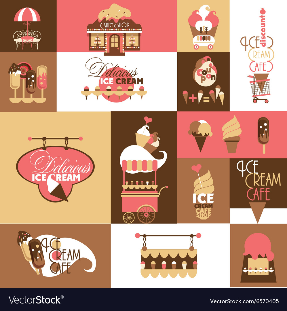 Set for Ice Cream Local Business with Logotypes