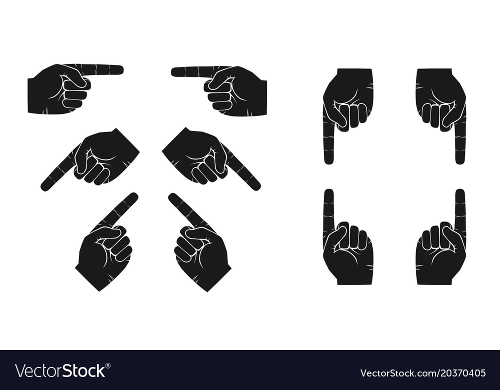 Set of hands with forefingers