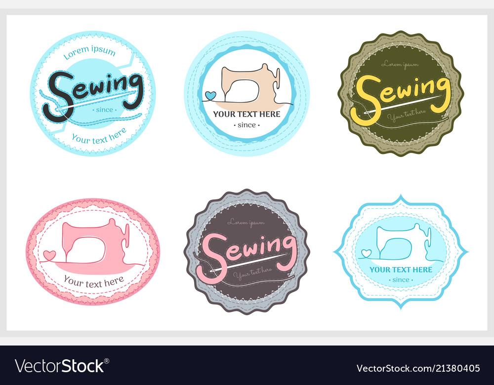 Set of retro garment sewing machine identity