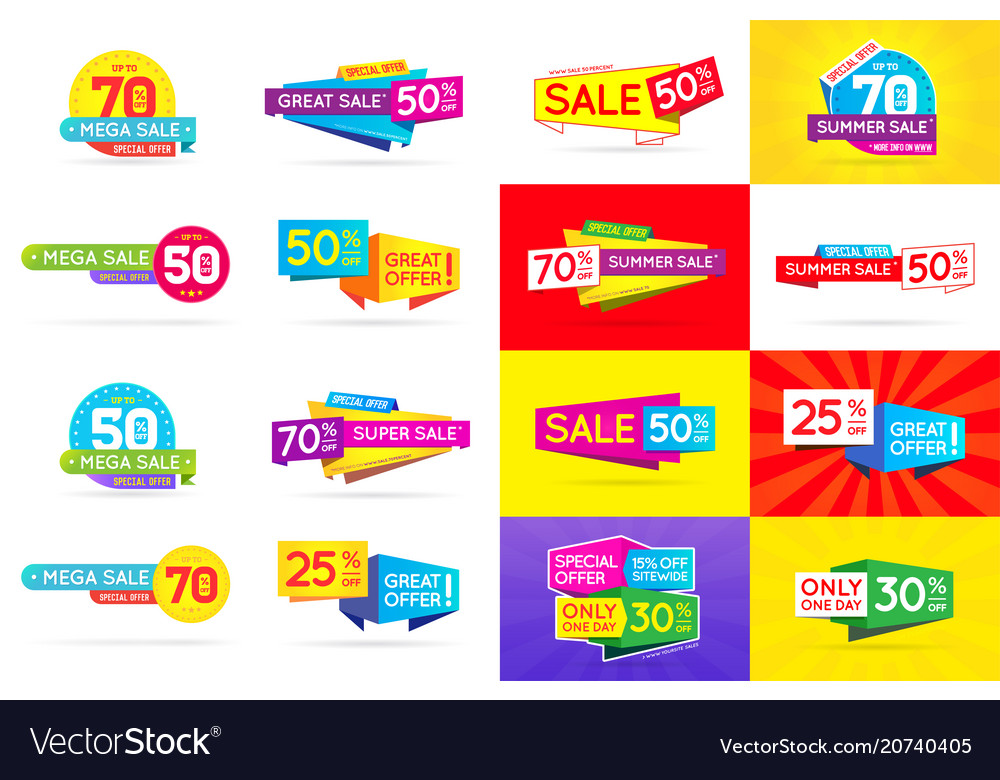 Set of sale signs banners posters cards