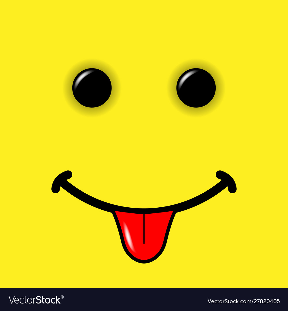 Smile emoticon on yellow background